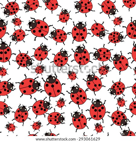 Seamless pattern with ladybugs in white background. Vector illustration. - stock vector