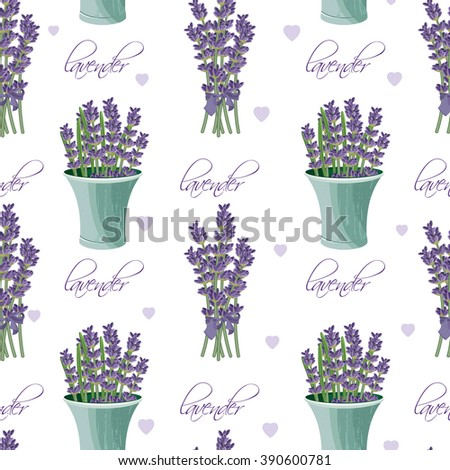 Seamless pattern with lavender flowers. Provence style. Romantic background in french retro design for greeting cards, posters, scrapbook.