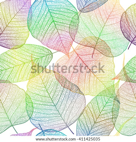 Seamless pattern with leaf, autumn leaf background. Vector, EPS10. - stock vector