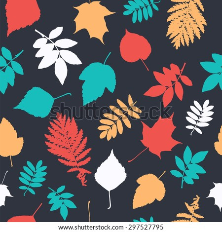 Seamless pattern with leaf trees. - stock vector
