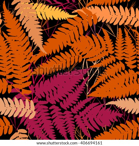 Seamless pattern with leafs tropical fern palm for fashion textile or web background. orange pink brown silhouette on Black background. Vector - stock vector