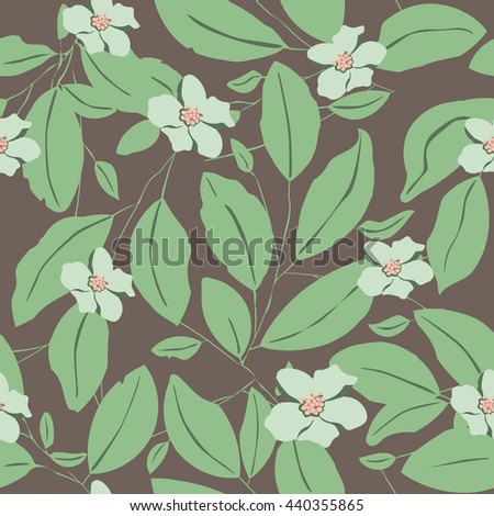 Seamless pattern with leaves and flowers on brown background - stock vector