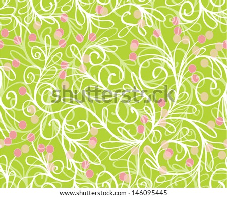seamless pattern with leaves, branches, stems and berries in green colors - stock vector