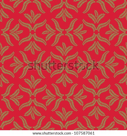 seamless pattern with leaves on red background, Print - stock vector