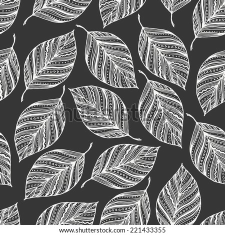 Seamless pattern with leaves. Sketch leaves, hand drawn natural background. Black-white wallpaper. Vector illustration.