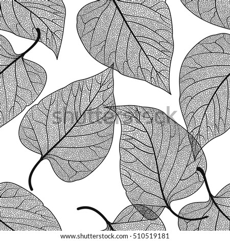 Seamless pattern with leaves. Vector, EPS 10.