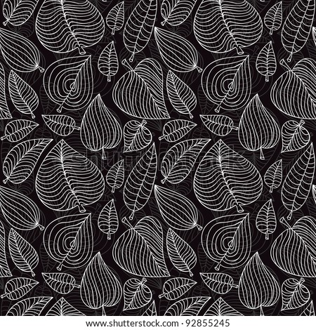 seamless pattern with leaves - vector illustration - stock vector
