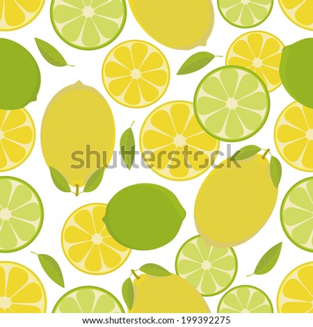 Seamless pattern with  lemon and lime. Vector illustration. - stock vector