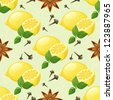 Seamless pattern with lemon, mint, anise star and cloves - stock vector