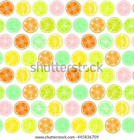 Seamless pattern with lemon,  orange and grapefruit on white background. Hand-drawn citrus. Stylized graphics. - stock vector
