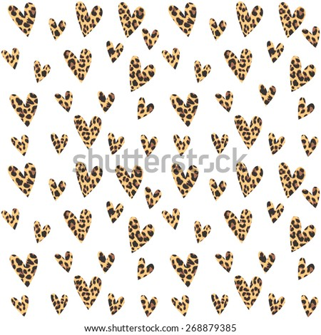 Seamless pattern with leopard hearts, trendy design, vector illustration background - stock vector