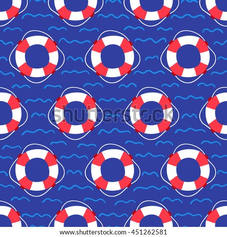Seamless pattern with lifebuoy on water surface. Perfect for wallpaper, gift paper, web page background and summer greeting cards