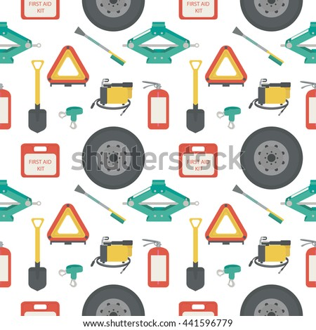 Seamless pattern with lift jack, tow rope, first aid kit, fire extinguisher, spare wheel, shovel, brush and scraper, warning triangle, car air compressor. Vector illustration. - stock vector