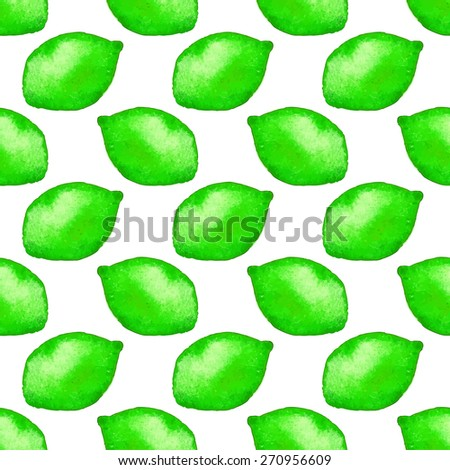 Seamless pattern with lime. Hand-drawn background. Vector illustration. Real watercolor drawing. - stock vector