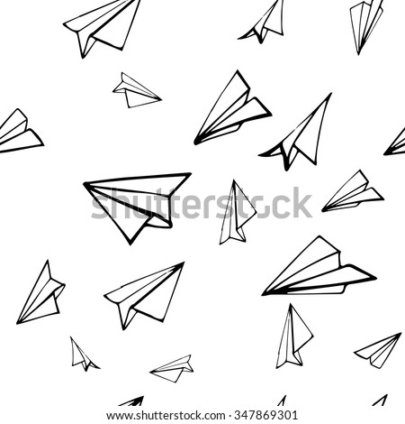 seamless pattern with linear paper planes hand drawn background adult coloring book - Coloring Book Paper Stock