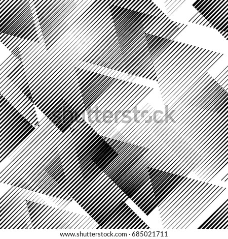 Seamless pattern with lines.Triangles  unusual poster Design .Black Vector stripes .Geometric shape. Endless texture