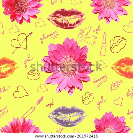 Seamless pattern with lipstick prints flowers and scribbles - stock vector