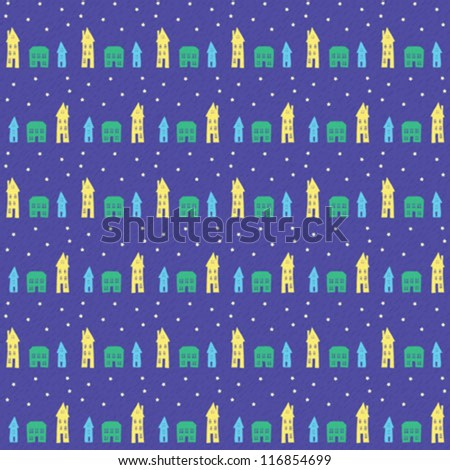 seamless pattern with little colorful houses like a village or small town at night - stock vector