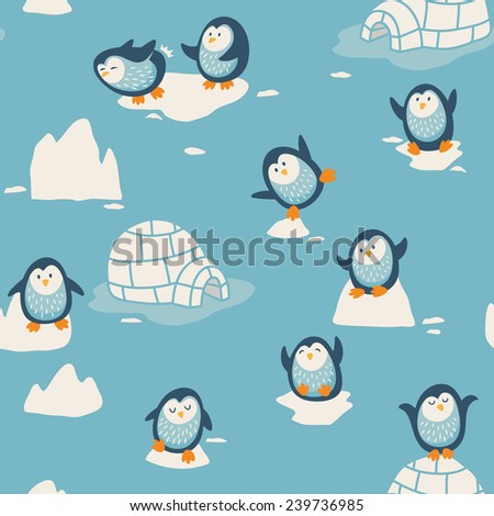 Seamless pattern with little cute penguins - stock vector