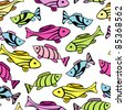Seamless pattern with little fishes - stock vector