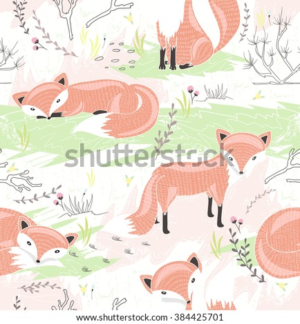 Seamless pattern with little foxes. Cute spring background for kid or children. - stock vector