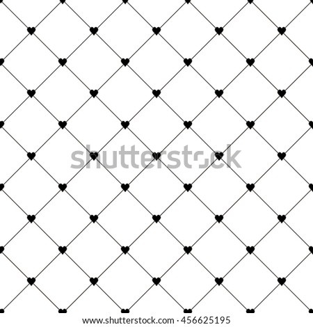 Seamless pattern with little hearts and diagonal grid on white background