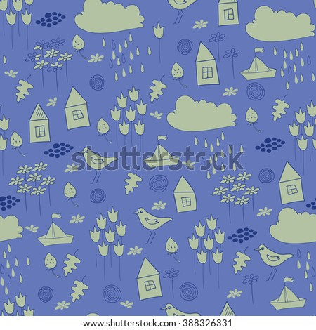 Seamless pattern with little houses, birds, flowers, paper ships, clouds, oak leaves. Good for childish wallpaper.