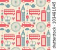 Seamless pattern with London symbols. - stock photo