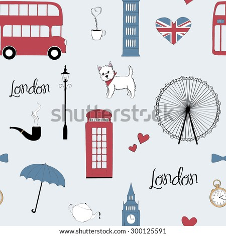 Seamless pattern with London symbols - stock vector