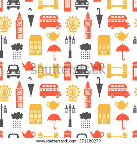Seamless pattern with London symbols. United Kingdom theme, vector illustration, can be used for wallpaper, web page background, greeting cards, fabric print - stock vector