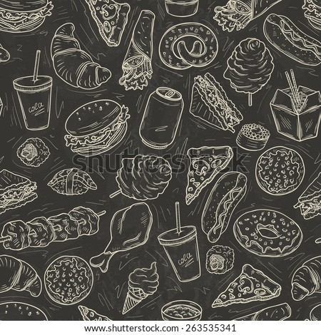 Seamless pattern with lot of fast food on blackboard - stock vector