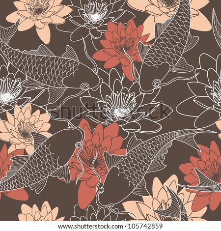 seamless pattern with lotus and chinese carps - stock vector