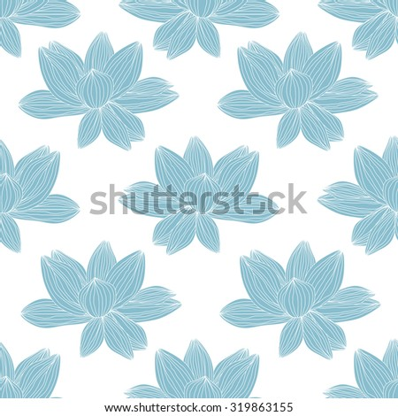 seamless pattern with lotus flower. vector illustration - stock vector