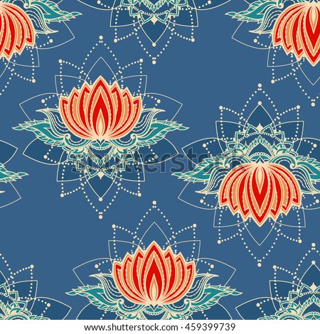 Seamless pattern with lotus flowers. Can be used for backgrounds, business style, tattoo templates, cards design or else. Vector illustration.