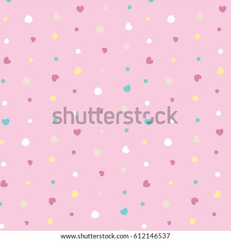Seamless Pattern Love Polka Dot Template Stock Vector