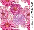 seamless pattern with lovely pink asters - stock vector
