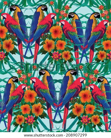 Seamless pattern with macaw parrots, flowers and palm leaves. Hand drawn vector. - stock vector