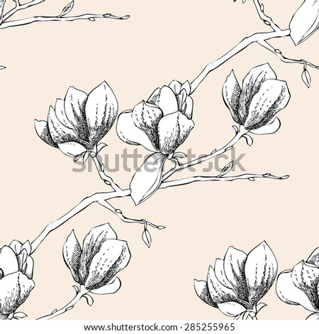 Seamless pattern with magnolia. Vector Illustration