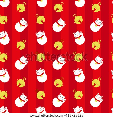 Seamless Pattern With Maneki Neko And Bells On Red Background Backdrop Japanese Lucky Welcoming