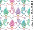 seamless pattern with mermaids and fish - stock vector