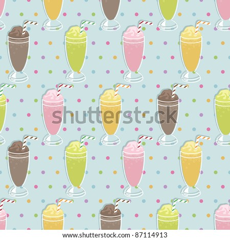 seamless pattern with milkshakes and polka dot background, with clipping path