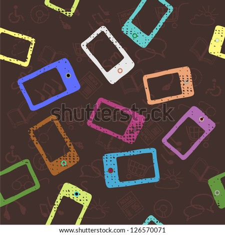 Seamless Pattern with Mobile Devices, Smartphone, Vintage Background - stock vector