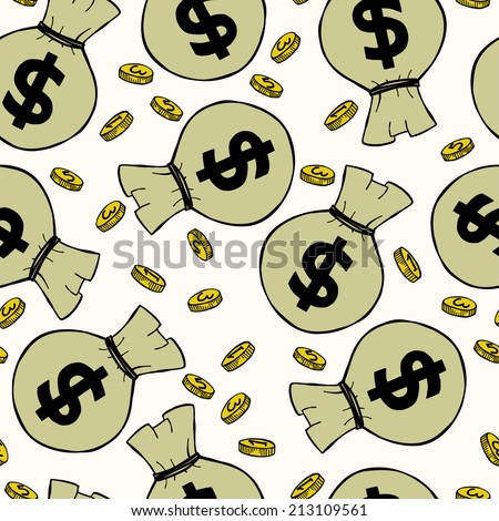 Seamless pattern with money hand sketched coins and money bags with dollar signs on them. Tiling financial backdrop. - stock vector