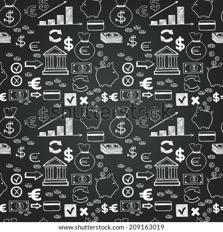 Seamless pattern with money hand sketched icons on chalkboard background. Tiling business doodles backdrop. - stock vector