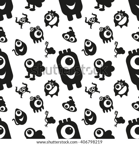 Seamless Pattern with Monsters 19. Can be used on clothes (T-shirts, pajamas, children's wear, etc), bags, wrappings, greeting cards, pillows and other things. - stock vector