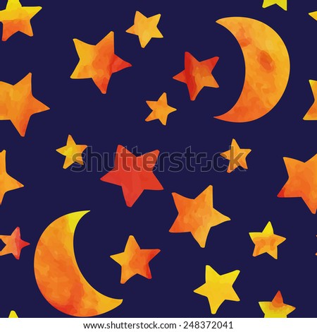 Seamless pattern with moon and stars. Watercolor effect. Vector illustration. - stock vector