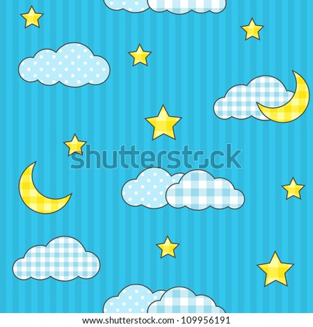 Seamless pattern with moon, stars and clouds
