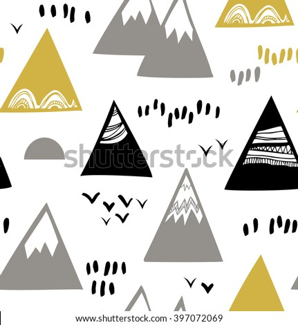 Seamless pattern with mountains, rocks in scandinavian style. Decorative background with landscape - stock vector