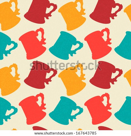 Seamless Pattern with Mugs. Endless Print Silhouette Texture. Drinks. Hand Drawing. Retro. Vintage Style - vector - stock vector