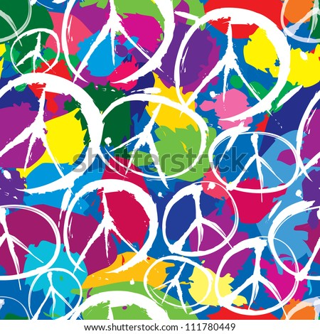 seamless pattern with multicolor symbols of peace - stock vector